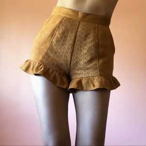 Finders Keepers Sueded Eyelet Ruffle Shorts
